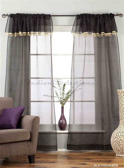 beaded sheer curtains black rod pocket w attached beaded valance sheer tissue