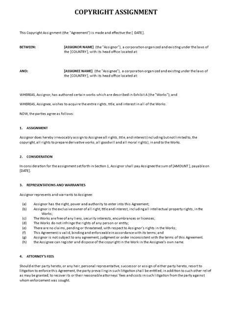 copyright agreement template free copyright assignment template templates at