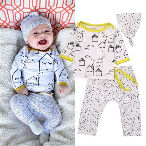 3 Pcs Set Baby Boy Print Clothing Sets 3 Pcs Cotton Newborn House Print Set Baby Boys Clothes Tops Hat