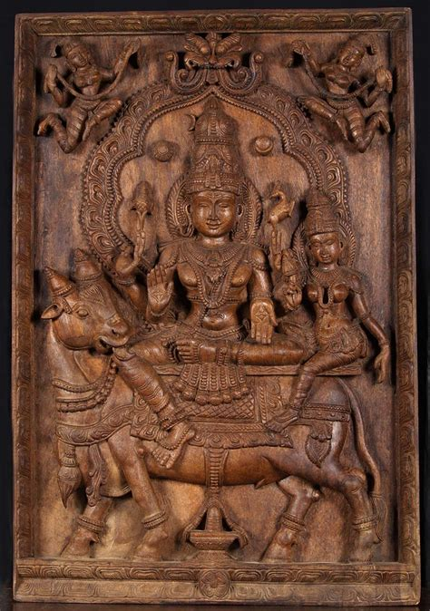 sold shiva parvati nandi wood panel   hindu