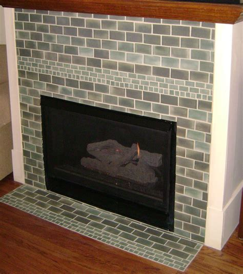 green brick tile fireplace surround for living room