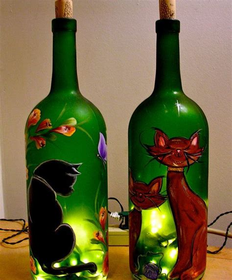 decorated wine bottles with lights inside bottle with interior lights can be painted with glass