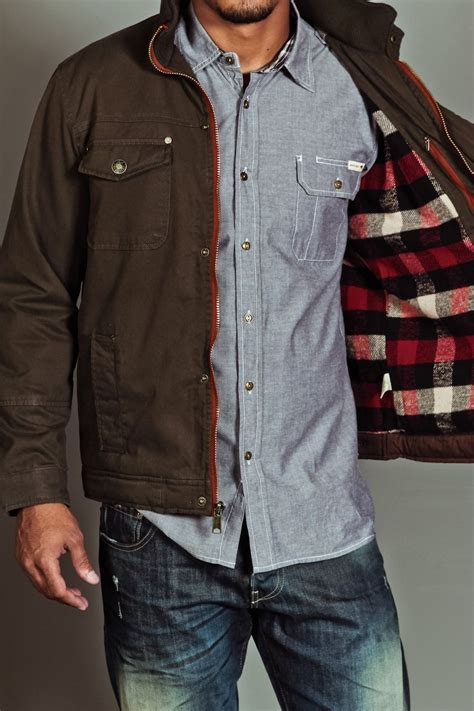 Brown Canvas Jacket brown canvas jacket with buffalo plaid lining s fall