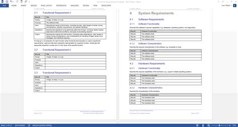 requirements list template functional requirements specification ms word excel