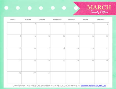 Calendar For March 2015 Free Printable March 2015 Calendar And Pretty