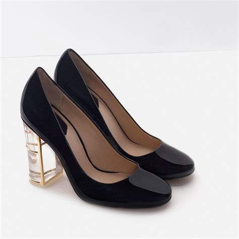 Zara Black Heels zara court shoes with heel detail in black lyst
