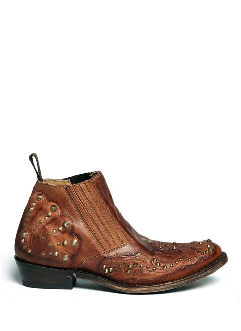 ash keli studded embossed leather boots in brown neutral