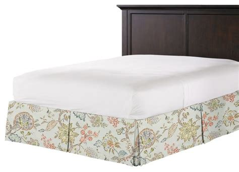 delicate aqua blue floral bed skirt pleated