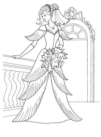 princess   wedding dress coloring page