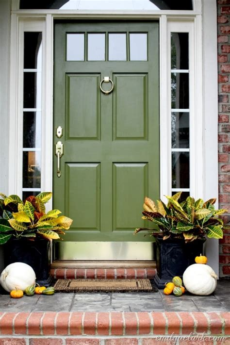 green front door fall front door ideas perfect for halloween too