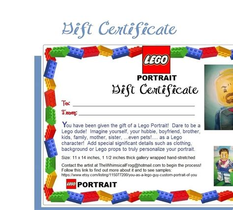 Free Printable Lego Gift Certificates | 11 x 14 lego portrait gift certificate your by