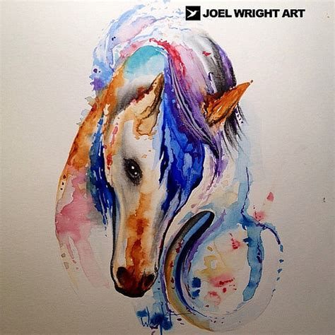 watercolor horse tattoo and horseshoe watercolor painting for flickr
