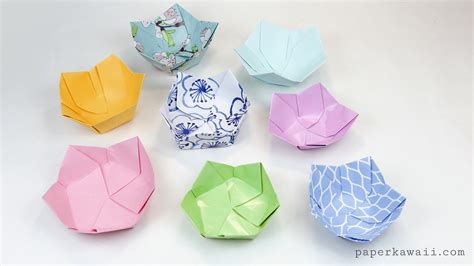 Where Can I Get Origami Paper - origami flower bowl tutorial paper kawaii