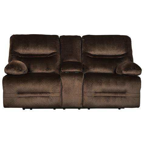 double recliner loveseat with console signature design by ashley brayburn 7770194 contemporary