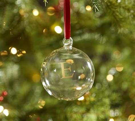 monogrammable glass ball ornament pottery barn
