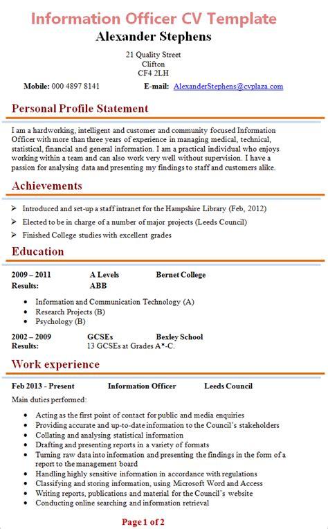 cv advice information officer cv