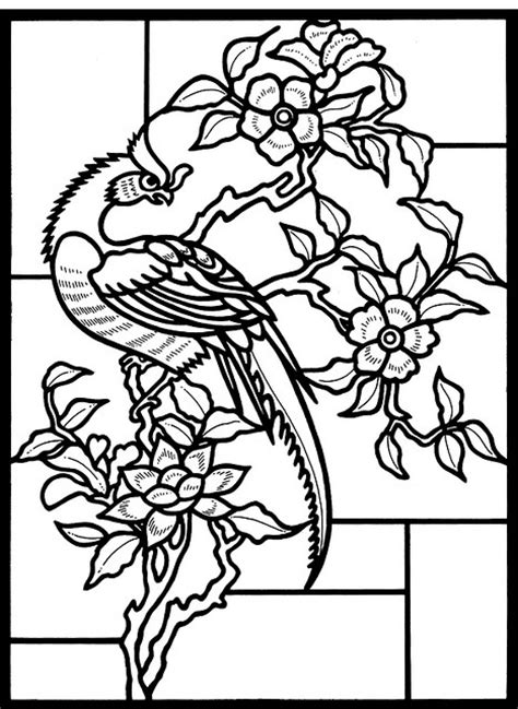 bird design coloring page free coloring pages of christmas stained glass 64