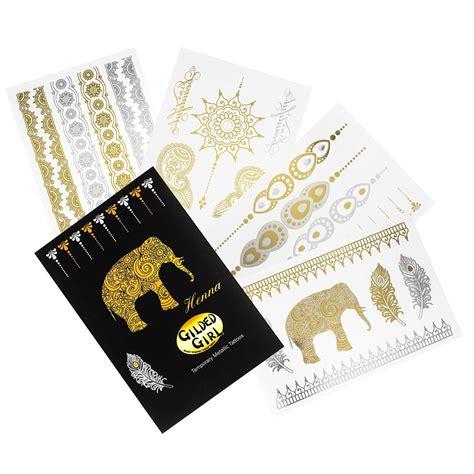 henna tattoo kaufen amazon premium henna metallic tattoos gold and silver flash