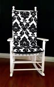 Black Rocking Chair For Nursery Rocking Chair Cushion Black White Flocked Damask