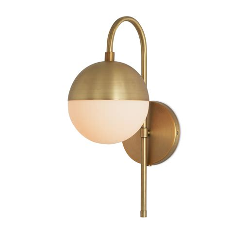 Brass Wall Sconce with Lights Wall Lights Powell Wall Sconce With Hooded White Globe Aged Brass