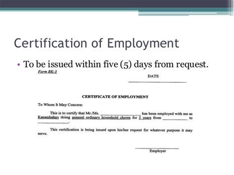 certification letter for domestic helper domestic workers act