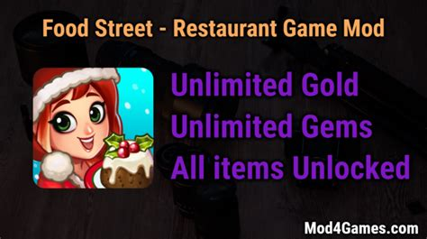 game offline mod apk unlimited food street restaurant unlimited gold gems game mod apk