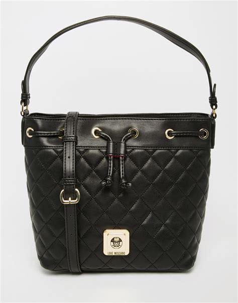 moschino quilted bag in black lyst
