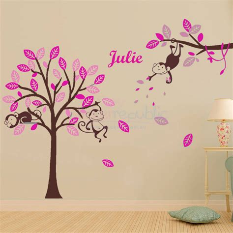 personalised name wall stickers s personalised name monkey hanging tree wall sticker brown large