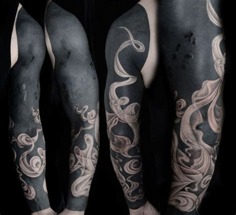 tribal smoke tattoos realistic smoke blackwork sleeve best