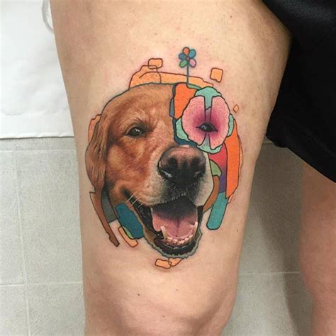 golden retriever tattoo golden retriever on the right thigh