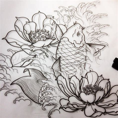 japanese lotus tattoo koi japanese flower pencil and in color koi