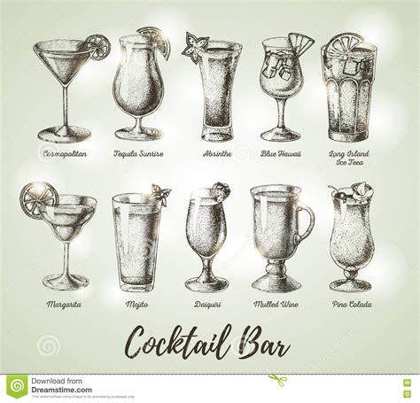 vintage cocktail illustration vintage cocktail bar menu sketch stock vector image