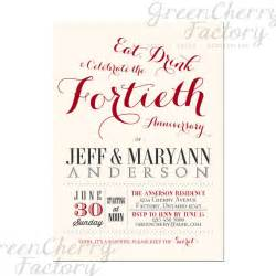 items similar to 40th wedding anniversary invitation ruby wedding anniversary