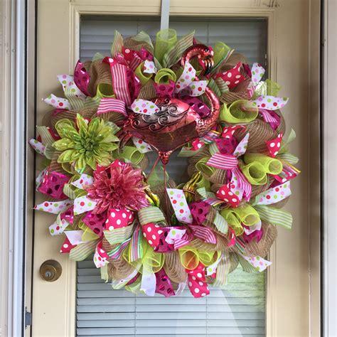 decorative mesh for doors summer flamingo deco mesh wreath front door decor