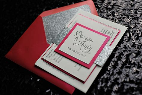 pink and silver wedding invitations real wedding and andy pink bling wedding invitation