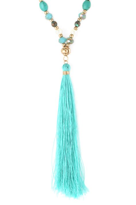 beaded tassel necklace multi beaded tassel pendant necklace necklaces