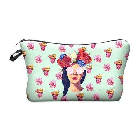Tas Pouch Makeup Kosmetik 3d Printing zohra 2016 new 3d printing makeup bags with multicolor pattern cosmetics pouchs for travel