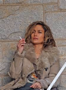 Smoking Weed In The Backyard Jennifer Lopez Lights Up A Cigarette On The Set Of Her New