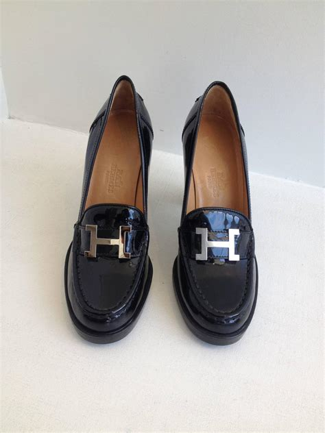 black patent loafers hermes black patent heeled loafers at 1stdibs