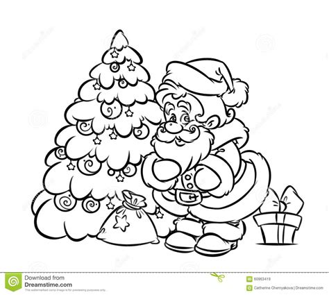 santa claus christmas tree coloring pages
