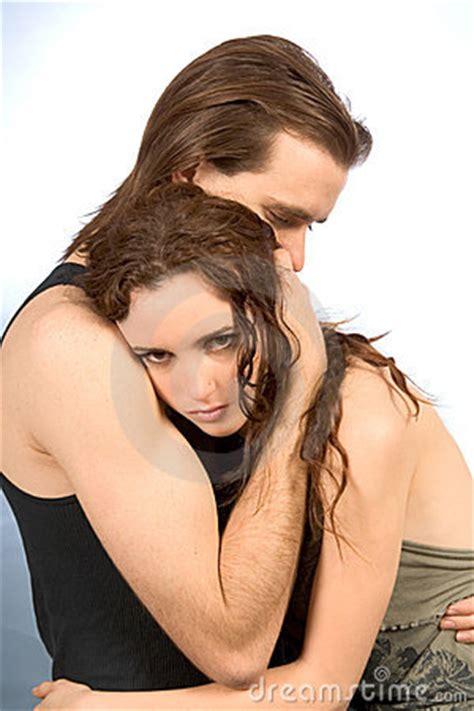 comforting hug comforting hug of young couple royalty free stock image