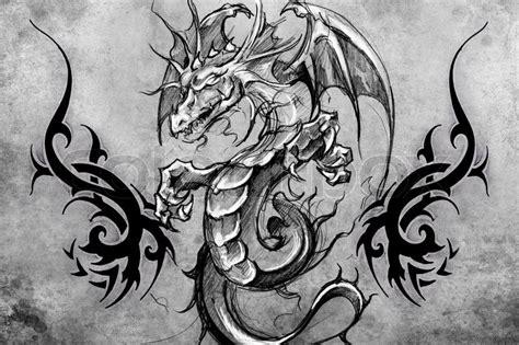 medieval dragon backpiece tattoo white design grey background