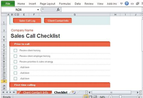 Sales Call Log Organizer For Excel Sales Call Checklist Templates