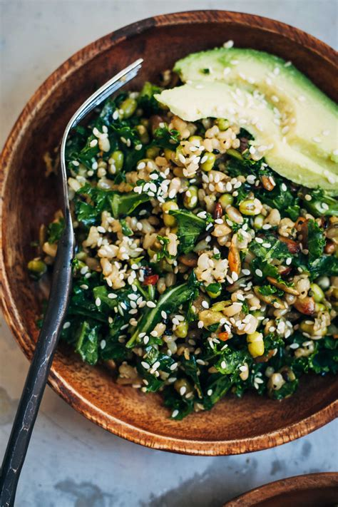 Brown Rice Detox Recipes healthy brown rice salad w kale sesame seeds well and