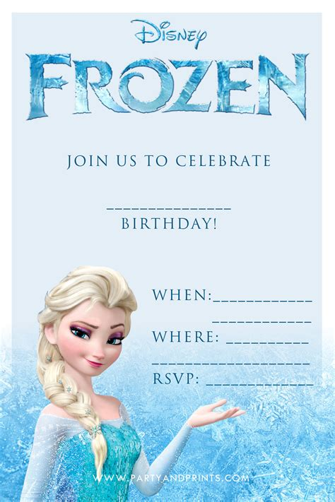 20 frozen birthday ideas - Disney Frozen Birthday Invitations Printable