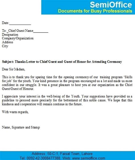 appreciation letter to guest of honor thanks letter to chief guest and guest of honor