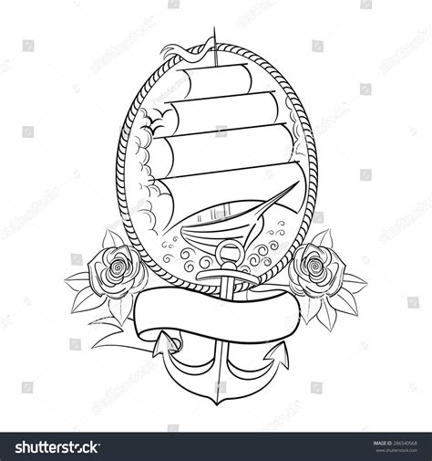 old school tattoo outlines oldschool tattoo style ship outline vector stock vector