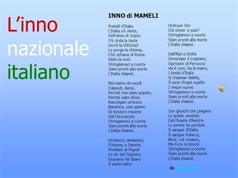inno nazionale italiano testo bambini di sana costituzione breve viaggio ppt