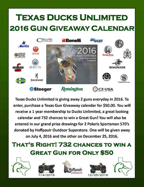Ducks Unlimited Sweepstakes - texas ducks unlimited calendar sweepstakes
