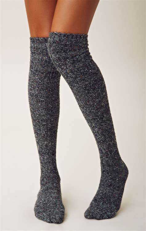 free vintage thigh high socks in gray grey multi